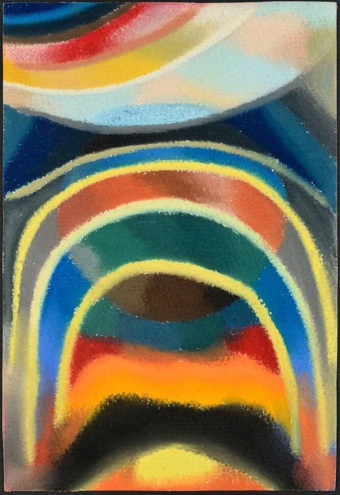 Otto Freundlich, Lichtkreise (Kosmischer Regenbogen), 1922, Pastell auf Papier, 32,5 x 23 cm (Foto: Galerie David Ghezelbash)