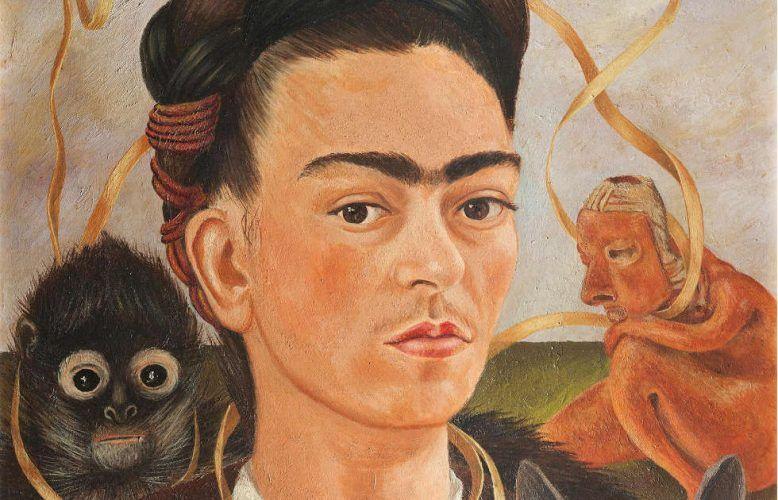 Frida Kahlo, Selbstbildnis mit einem Affen, Detail, 1945, Öl auf Leinwand auf Holzfaserplatte (Museo Dolores Olmedo, Mexiko-Stadt)