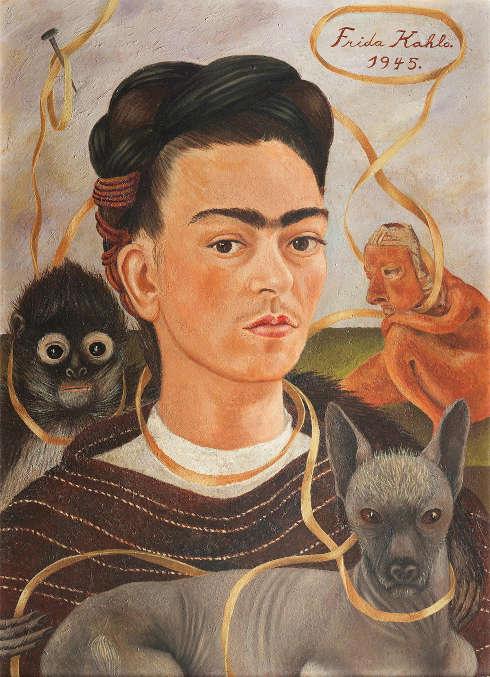 Frida Kahlo, Selbstbildnis mit einem Affen, 1945, Öl auf Leinwand auf Holzfaserplatte (Museo Dolores Olmedo, Mexiko-Stadt)