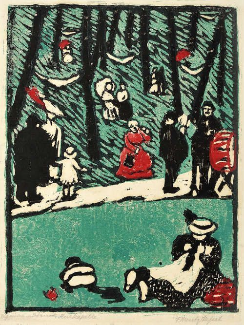 Frida Mentz-Kessel, Kurkapelle, 1911, Dreifarbenholzschnitt auf Japanpapier, 37 x 27,5 / 27,5 x 20,2 cm sign. u. r.: F. Mentz-Kessel (Kunstsammlung Jena, Inv. Nr. III 591 © Foto: Kunstsammlung Jena)