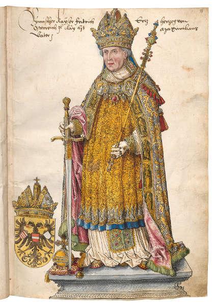 Jörg Kölderer, Friedrich III., Entwurf für das Maximilian Grabmal in Innsbruck (Österreichische Nationalbibliothek)