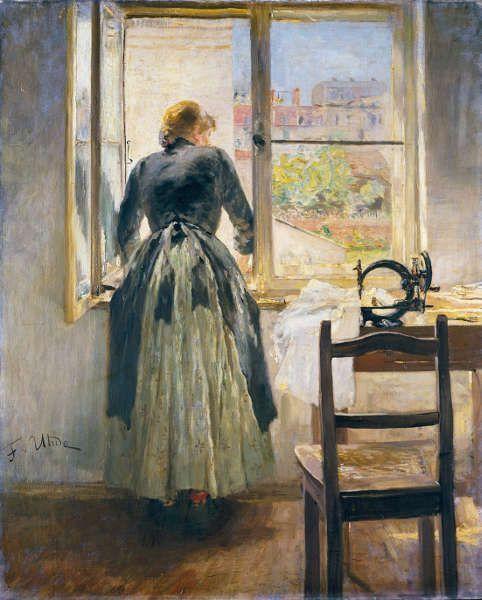 Fritz von Uhde, Am Fenster, 1890, Öl/Lw, 80,5 x 65,5 cm (Städel Museum, Frankfurt am Main)