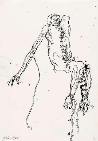 Günter Brus, Aktionsskizze, 1966, Tusche auf Papier, 29,6 × 20,8 cm (Privatsammlung, Foto N. Lackner/UMJ)