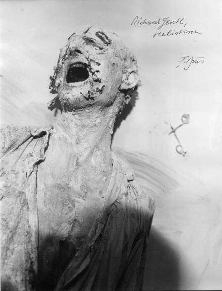 Günter Brus, Selbstverstümmelung I, Aktion, Perinetkeller, Wien, Foto: Siegfried Klein (Khasaq), 1965, Fotografie, 39 × 30 cm (Privatbesitz, Foto Siegfried Klein)