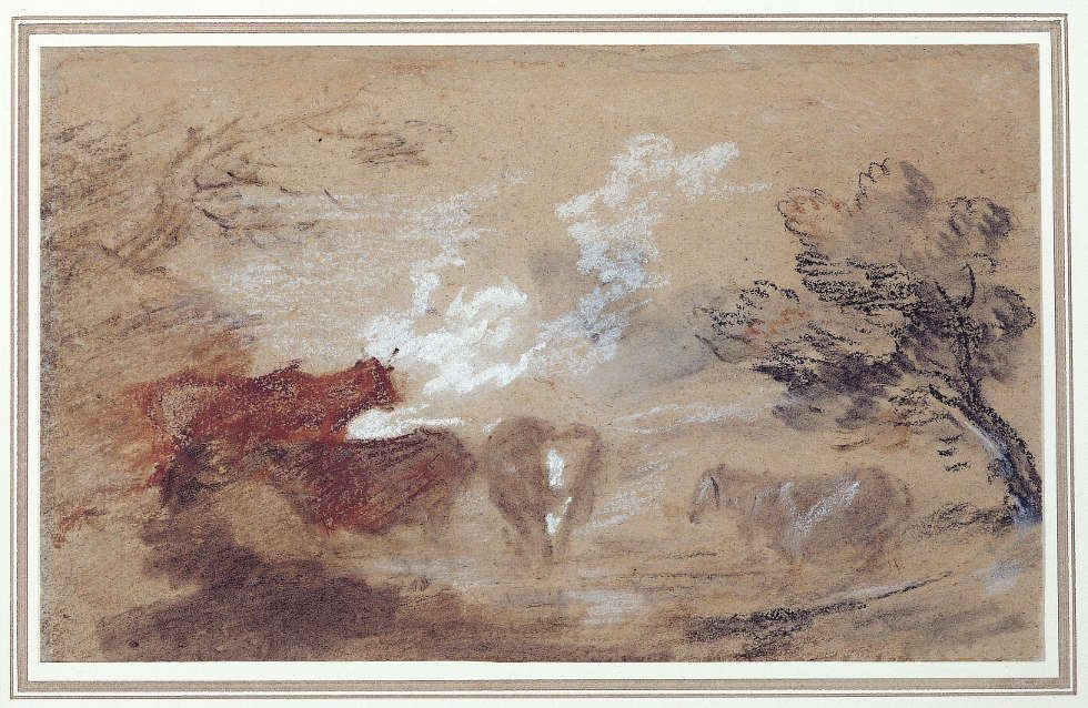 Thomas Gainsborough, Landschaft mit Rindern und Pferd, um 1785, Schwarze, braune, rote und weiße Kreide auf Papier, 15,2 x 24,8 cm (Sudbury, Gainsborough's House © Gainsborough's House, Sudbury)