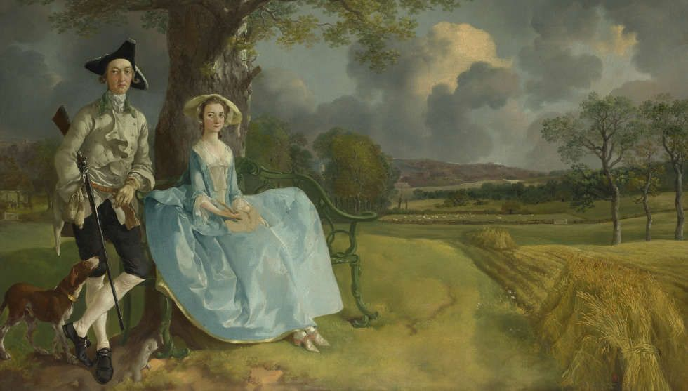 "Thomas Gainsborough, Robert und Frances Andrews (""Mr. und Mrs. Andrews""), um 1750, Öl/Lw, 69,8 × 119,4 cm (London, The National Gallery © The National Gallery, London)"