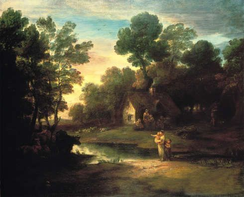 Thomas Gainsborough, Waldlandschaft mit Hütte am See, vor 1782, Öl/Lw, 120,4 x 147,6 cm (Sudbury, Gainsborough's House © Gainsborough's House, Sudbury)