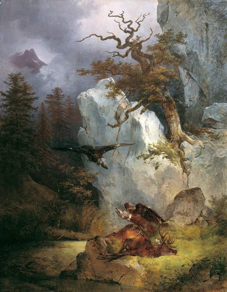 Friedrich August Mathias Gauermann, Ein Geier auf verendetem Hirsch, 1832, Öl auf Leinwand 147 x 115 cm (© Belvedere, Wien)