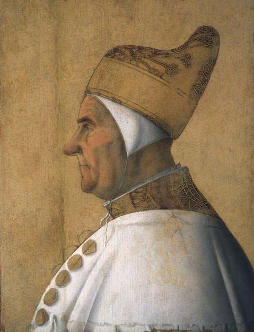 Gentile Bellini, Porträt des Dogen Giovanni Mocenigo, um 1478–1483, Öl und Tempera auf Holz, 62 x 45 cm (Fondazione Musei Civici, Museo Correr, Venedig)