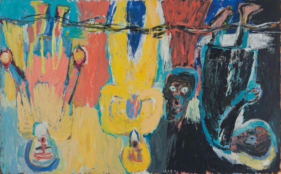 Georg Baselitz, Der Brückechor, 1983, Öl auf Leinwand, 280 x 450 cm (Privatsammlung © Georg Baselitz, 2018, Foto: © 2014 Christie's Images Limited)