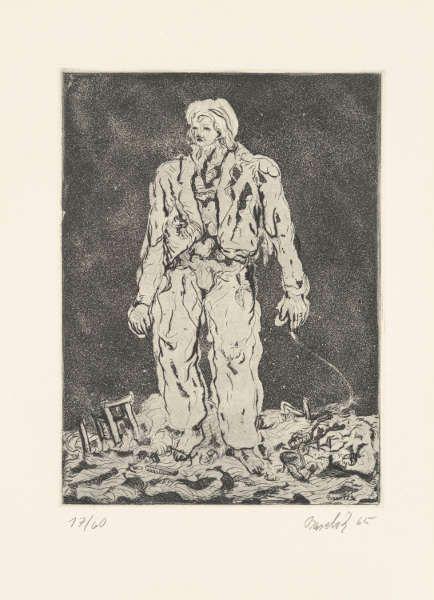 Georg Baselitz, Der Hirte, 1965, Radierung, Kaltnadel, Aquatinta auf Zink (Stiftung G. und A. Gercken © Georg Baselitz 2017, Foto: Andreas Diesend)
