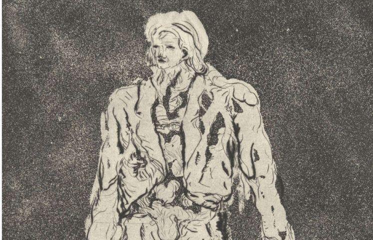 Georg Baselitz, Der Hirte, Detail, 1965, Radierung, Kaltnadel, Aquatinta auf Zink (Stiftung G. und A. Gercken © Georg Baselitz 2017, Foto: Andreas Diesend)