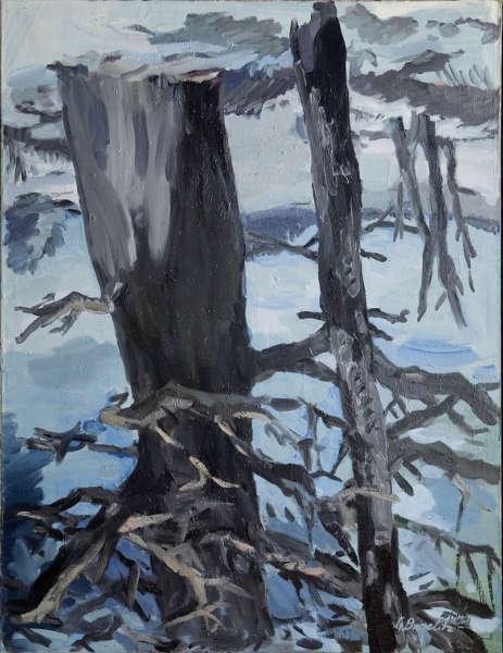 Georg Baselitz, Der Wald auf dem Kopf, 1969, Öl/Lw, 250 x 190 cm (Museum Ludwig, © Georg Baselitz 2019)