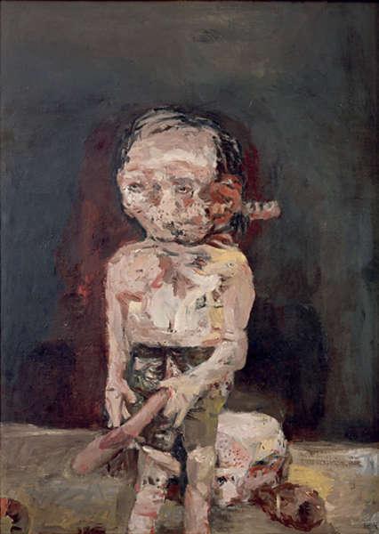 Georg Baselitz, Die große Nacht im Eimer, 1962/63, Öl/Lw, 250 x 180 cm (Museum Ludwig, Köln, Stiftung Ludwig)