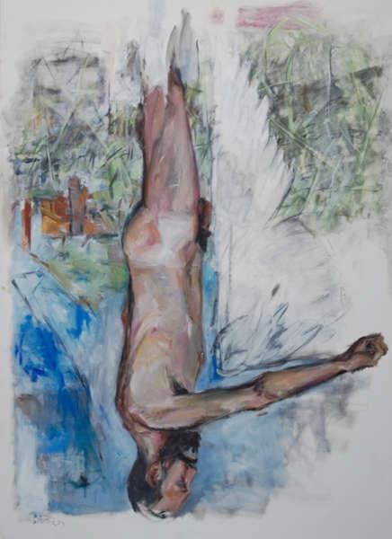 Georg Baselitz, Dreieck zwischen Arm und Rumpf, 1973, Öl und Kohle auf Leinwand, 250 × 180 cm (Heidi Horten Collection, Foto: Heidi Horten Collection)