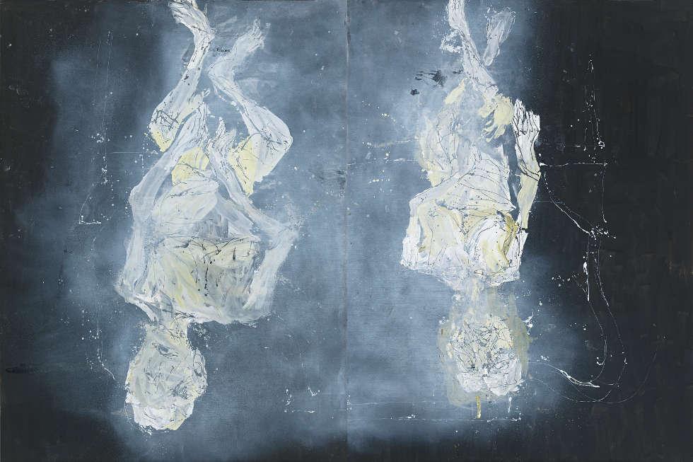Georg Baselitz, Dystopisches Paar, 2015, Öl auf Leinwand, 400 x 600 cm (Courtesy des Künstlers und White Cube © Georg Baselitz, 2018, Foto: Jochen Littkemann, Berlin)