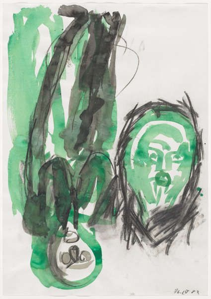 Georg Baselitz, Edvards Kopf, 16. April 1983, Aquarell, Blatt: 61.1 x 43.2 cm (Kunstmuseum Basel, Kupferstichkabinett, Foto: Kunstmuseum Basel - Martin P. Bühler)