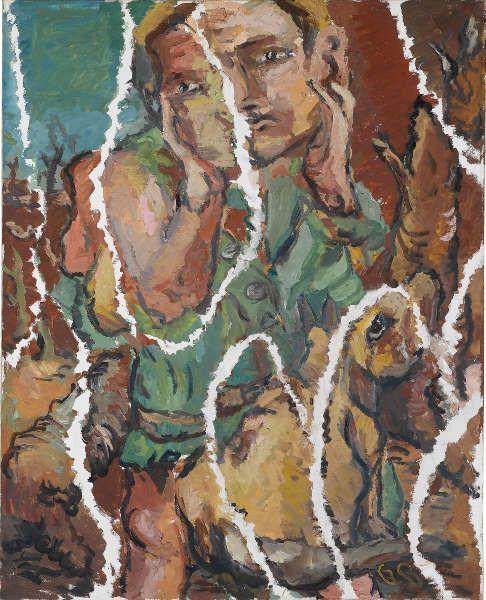 Georg Baselitz, Ein Grüner zerrissen, 1967, Öl/Lw, 131,5 x 162 cm (Staatsgalerie Stuttgart © Georg Baselitz 2018)