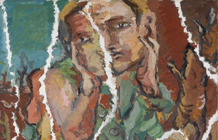 Georg Baselitz, Ein Grüner zerrissen, Detail, 1967, Öl/Lw, 131,5 x 162 cm (Staatsgalerie Stuttgart © Georg Baselitz 2018)
