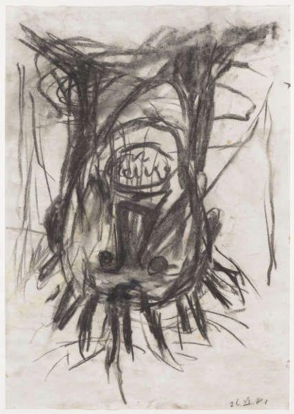 Georg Baselitz, Kopf, 26. Juni 1981, Kohle, Blatt: 60.7 x 43 cm (Kunstmuseum Basel- Ankauf, Foto: Kunstmuseum Basel - Martin P. Bühler)
