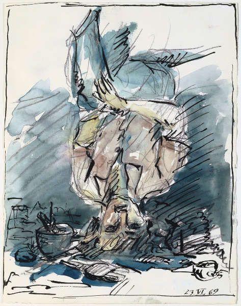 Georg Baselitz, Maler, 1969, Bleistift, Tusche, Aquarell, 32,4 x 25,1 cm (© Kunstmuseum Basel)