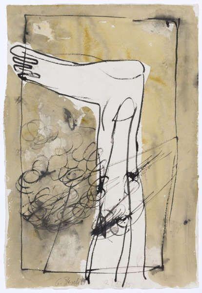 Georg Baselitz, Ohne Titel (Fuß), 1995, Gouache und Tusche auf Büttenpapier, verso Aquarell, 58,4 x 40,1 cm (© Kunstmuseum Basel)