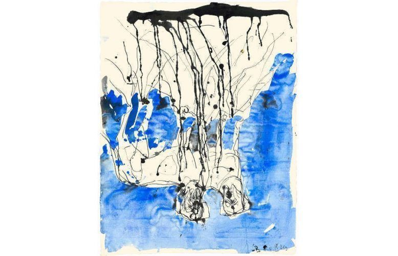 Georg Baselitz, Trauerhunde, 2010, Aquarell und Tusche, 66 x 51,2 cm (© Georg Baselitz, 2018 / Foto: Jochen Littkerman)