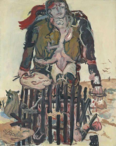 Georg Baselitz, Verschiedene Zeichen, 1965, Öl/Lw, 162,5 x 130,0 cm (Fondation Beyeler, Riehen/Basel, Sammlung Beyeler, © Georg Baselitz, 2017, Foto: Robert Bayer, Basel)