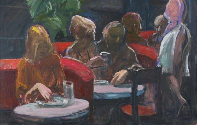 Georg Eisler, Espresso B, Detail, 1982, Öl/Lw (Museum der Moderne Salzburg, Schenkung des Georg und Alice Eisler-Stiftungsfonds für bildende Künstler und Komponisten, © Bildrecht, Wien 2017, Foto: Rainer Iglar)