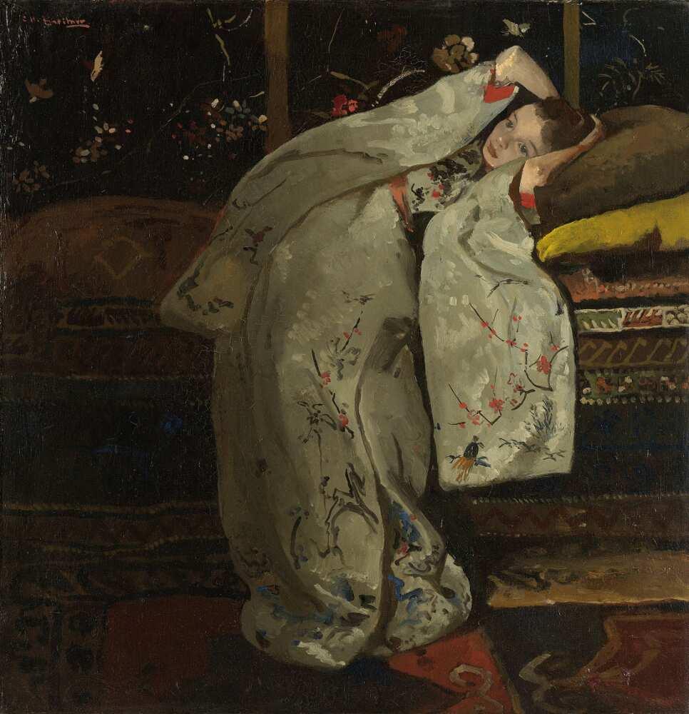 George Hendrik Breitner, Mädchen in einem weißen Kimono, 1894, Öl auf Leinwand, 59 x 57 cm (Rijksmuseum, Amsterdam)