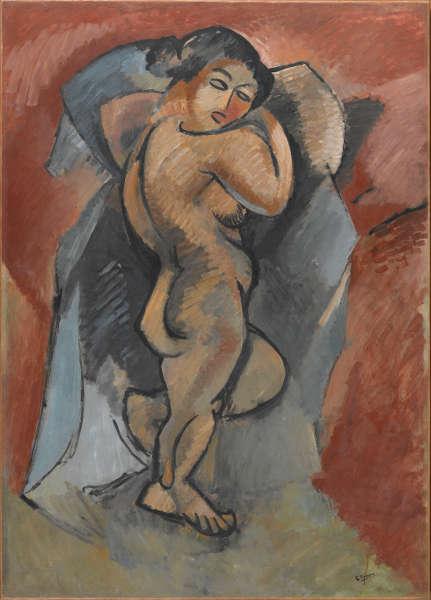 Georges Braque, Großer Akt, Winter 1907–Juni 1908, Öl/Lw, 140 x 100 cm (Centre Pompidou, Paris © Centre Pompidou Dist. Rmn-GP)