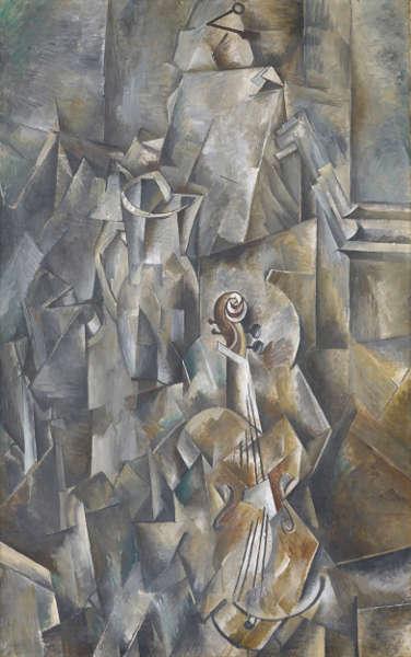 Georges Braque, Krug und Violine [Broc et violon), 1909/1910, Öl/Lw, 116.8 x 73.2 cm (Kunstmuseum Basel- Schenkung Dr. h.c. Raoul La Roche)
