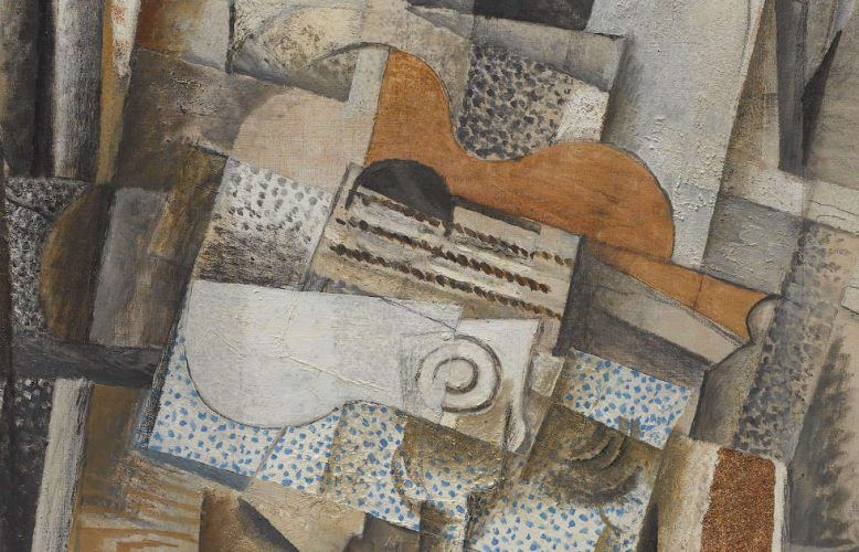 Georges Braque, Mann mit Gitarre, Detail, Frühling 1914 (Collection Centre Pompidou, Paris Musée national d'art moderne - Centre de création industrielle © VG Bildkunst, Bonn 2020)