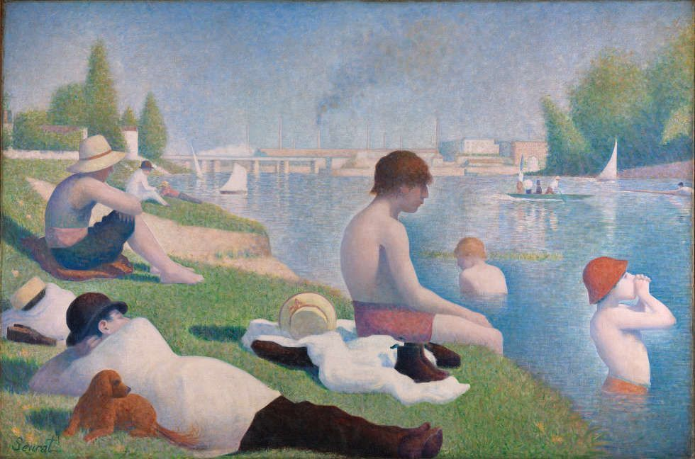 Georges Seurat, Badende in Asnières, 1884, Öl/Lw, 201 × 300 cm (Bought, Courtauld Fund, 1924 © The National Gallery, London)