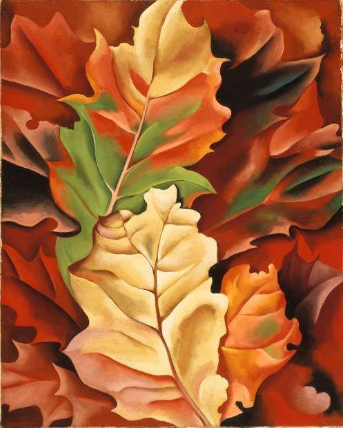 Georgia O'Keeffe, Autumn Leaves – Lake George, N.Y., 1924, Öl/Lw, 51.4 × 41.3 cm (Columbus Museum of Art, Columbus Museum Purchase, Howald Fund II, 1981.006, CR 464, /Adagp Paris 2021)
