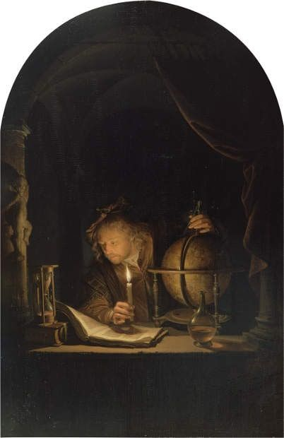 Gerard Dou, Astronom im Kerzenlicht, um 1665, Öl auf Holz, 32 x 21.2 cm (Los Angeles, The J. Paul Getty Museum © Los Angeles, J. Paul Getty Museum)
