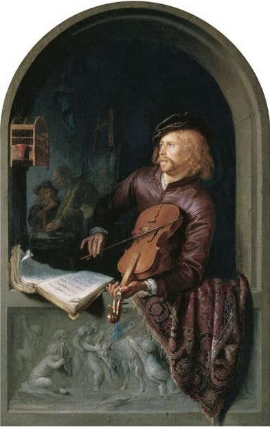 Gerard Dou, Der Geigenspieler, 1653, Öl auf Holz, 32 × 20 cm (Vaduz-Wien, Liechtenstein. The Princely Collections, Inv.-Nr. GE150)