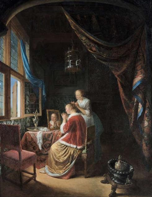 Gerard Dou, Eine Dame bei der Toilette, 1667 (Rotterdam, Museum Boijmans Van Beuningen)