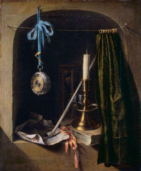 Gerard Dou, Stillleben mit Leuchter und Taschenuhr, um 1660 (Staatliche Kunstsammlungen Dresden, Gemäldegalerie Alte Meister)