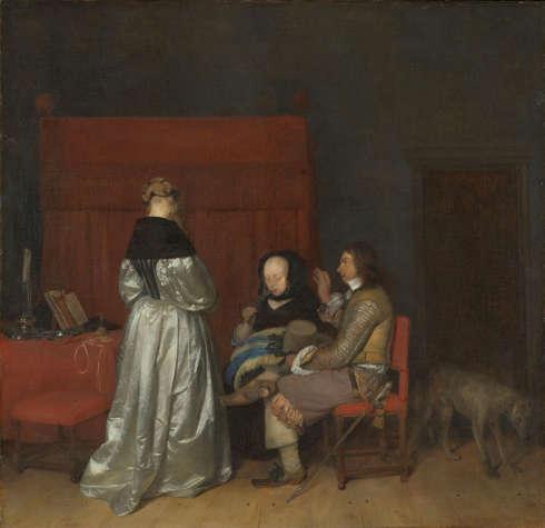 """Gerard ter Borch, Galante Konversation, auch genannt """"Die väterliche Ermahnung"""", um 1654, Öl/Lw, 71 × 73 cm (Rijksmuseum, Amsterdam)"""