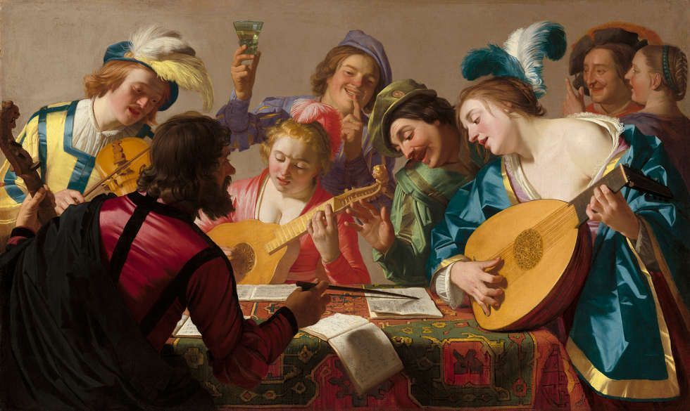 Gerard van Honthorst, Das Konzert, 1623, Öl/Lw, 123.5 × 205 c (Washington, National Gallery of Art, Patron's Permanent Fund and Florian Carr Fund, Inv.-Nr. 2013.38.1)