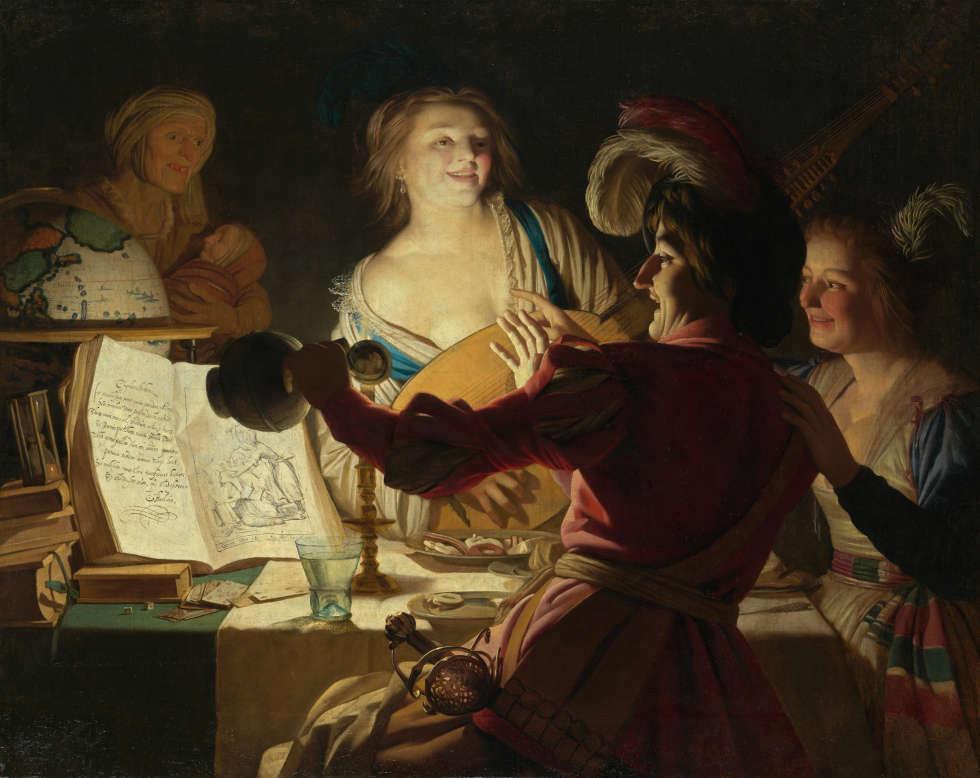 Gerard van Honthorst, Der liederliche Student, 1625, Öl/Lw, 125 x 157 cm (Bayerische Staatsgemälde-sammlungen, Alte Pinakothek, München © Bayerische Staatsgemälde-sammlungen, Alte Pinakothek, München)