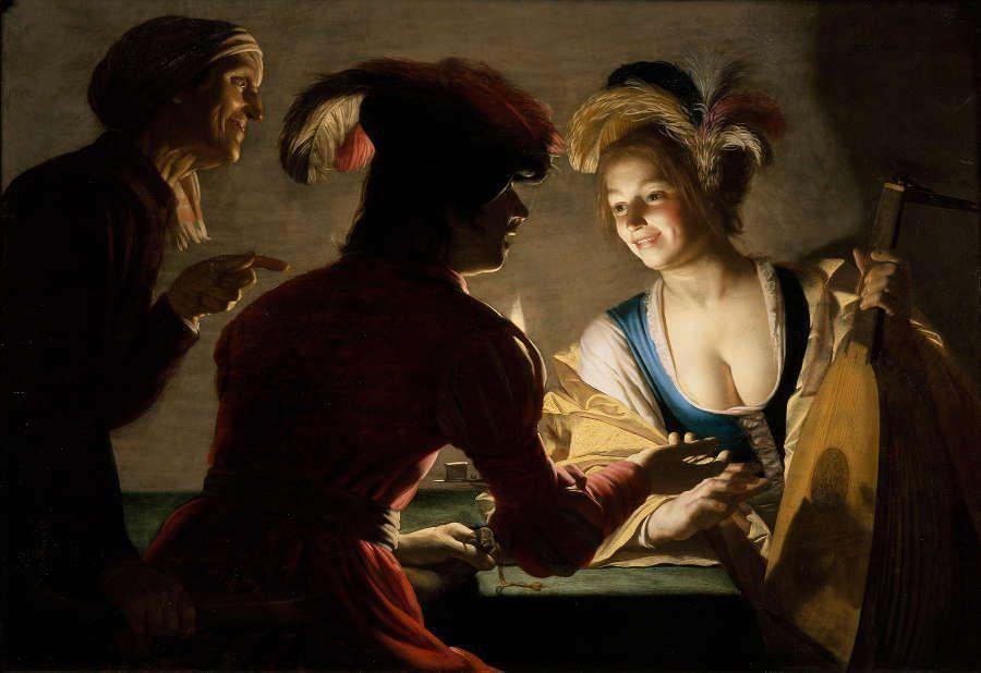 Gerard van Honthorst, Die Kupplerin, 1625, Öl/Lw, 71 x 104 cm (Centraal Museum Utrecht, aankoop met steun van de Vereniging Rembrandt 1951, Foto: Tom Haartsen)