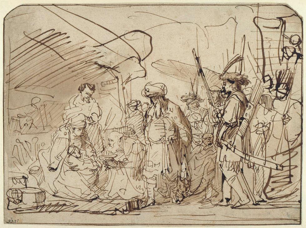 Gerbrand van den Eeckhout, Die Anbetung der Könige, um 1635–1640, Feder in Braun, braun laviert (© Staatliche Museen zu Berlin, Kupferstichkabinett / Jörg P. Anders)