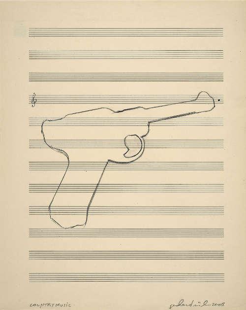 Gerhard Rühm, countrymusik, 2005, Bleistift auf Notenpapier, 34 x 27 cm (Privatsammlung, © Gerhard Rühm, Foto: © N. Lackner/UMJ)