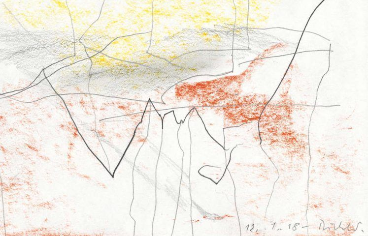 Gerhard Richter, 12.1.18, Detail, 2018, Bleistift und Farbstift auf Papier, 14,2 x 20,2 cm, Gerhard Richter Archiv, Staatliche Kunstsammlungen Dresden © Gerhard Richter 2020 (08022020)