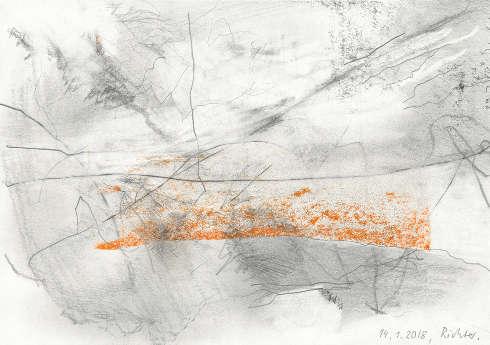 Gerhard Richter, 14.1.18, 2018 Bleistift und Farbstift auf Papier, 14,2 x 20,2 cm, Gerhard Richter Archiv, Staatliche Kunstsammlungen Dresden © Gerhard Richter 2020 (08022020)