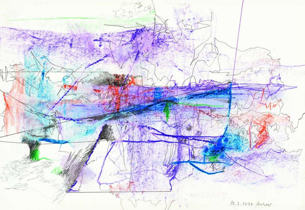Gerhard Richter, 28.2.2020, Bleistift und Ölkreide, 27 x 40 cm (22102020)