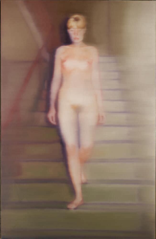 Gerhard Richter, Ema (Akt auf einer Treppe), 1966, Öl auf Leinwand, 200 x 130 cm (Museum Ludwig, Köln) © Gerhard Richter 2017 (221116), Foto: Rheinisches Bildarchiv Köln