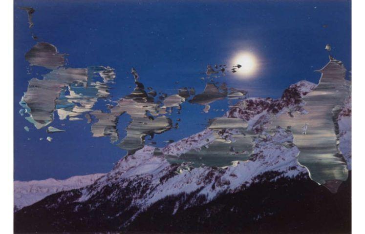Gerhard Richter, Piz Surlej, Piz Corvatsch, 1992, Öl auf Fotografie, 8,9 x 12,6 cm (Privatbesitz © Gerhard Richter, Köln)